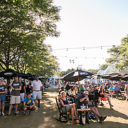 August 22, 2016, New Haven, Connecticut: <br /> Fans enjoy the food court during Day 4 of the 2016 Connecticut Open at the Yale University Tennis Center on Monday August  22, 2016 in New Haven, Connecticut. <br /> (Photo by Billie Weiss/Connecticut Open)