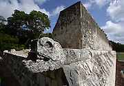 Detail of platform with a border in bas-relief depicting a serpent, Wall of the Game of Ball, 900-1100 AD, Toltec Architecture, Chichen Itza, Yucatan, Mexico. Picture by Manuel Cohen