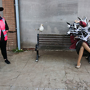 Lady with sea gulls - art work by Banksy. On the first day the show is open only a thousand locals who won free ticket gets an advanced entry to the show.Dismaland, a bemusement park set up by artist Banksy show casing more hand 40 artists. The bemusement park is set in a former lido in Weston Super-Mare.After much secrecy the show opened to a small number of locals from Weston Super-Mare Friday and fully to the public Saturday Aug 22.