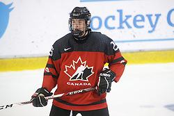 Dawson Barteaux (Regina Pats) seen representing Team Canada Red at the 2016 World Under-17 Challenge in Sault Ste. Marie, Ont. Photo by Kenneth Armstrong for CHL Images