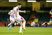 Stade Francais full-back Hugo Bonneval clears the ball during the European Challenge Cup match between Ospreys and Stade Francais at Principality Stadium, Cardiff, Wales on 2 April 2017. Photo by Andrew Lewis.