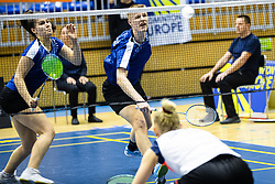 Petra Polanc in Miha Ivancic of Slovenia in blue shirts during Victor Slovenia future series badminton turnir in Brezice, 24. November, 2019, Slovenia. Photo by Grega Valancic / Sportida