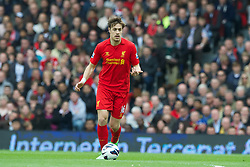 LONDON, ENGLAND - Sunday, May 12, 2013: Liverpool's Sebastian Coates in action against Fulham during the Premiership match at Craven Cottage. (Pic by David Rawcliffe/Propaganda)