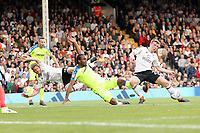 LONDON, ENGLAND - MAY 14:LONDON, ENGLAND - MAY 14:Derby's Cameron Jerome gets in a shot on the Fulham goal