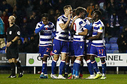 Reading players celebrate their goal scored by Garath Mcleary (12) of Reading during the EFL Sky Bet Championship match between Reading and Luton Town at the Madejski Stadium, Reading, England on 9 November 2019.