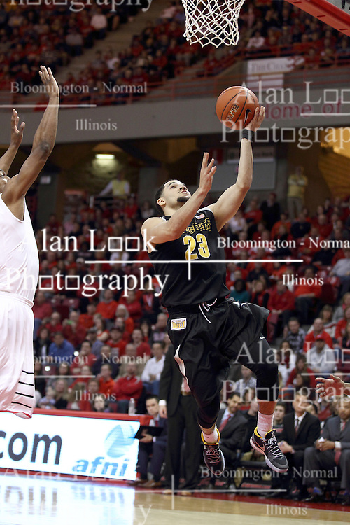 14 February 2015:  Fred VanVleet finishes off a fast break  during an NCAA MVC (Missouri Valley Conference) men's basketball game between the Wichita State Shockers and the Illinois State Redbirds at Redbird Arena in Normal Illinois