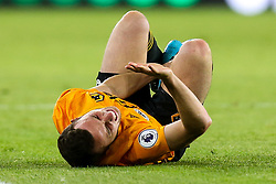 Diogo Jota of Wolverhampton Wanderers looks in pain after picking up an injury - Mandatory by-line: Robbie Stephenson/JMP - 19/08/2019 - FOOTBALL - Molineux - Wolverhampton, England - Wolverhampton Wanderers v Manchester United - Premier League