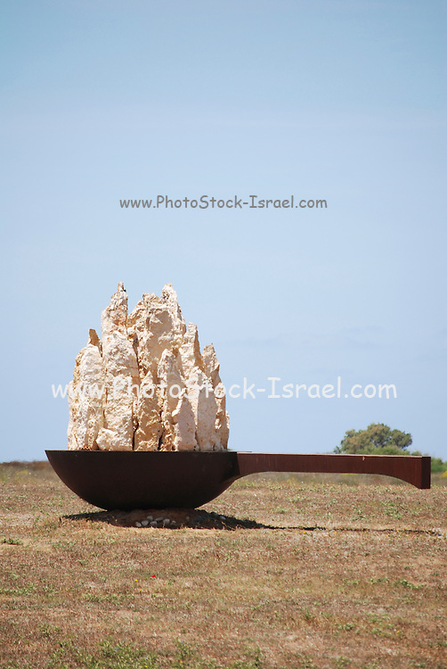 "Israel, Coastal Plains, Arsuf, Stone, concrete and iron Urban Sculpture, ""Saucepan"" from 2004. By Tanya Priminger"