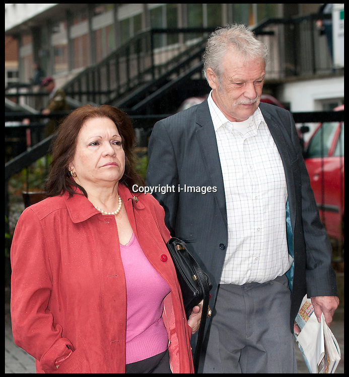 Penelope and Jeremy Larke parents of Anna Larke former girlfriend  of Comedian Justin Lee Collins arriving at St Albans Crown Court to give evidence against him accusing him of continued harrasment on Anna Larke, the former girlfriend  of Comedian Justin Lee Collins. Monday October 1, 2012. Photo by i-Images