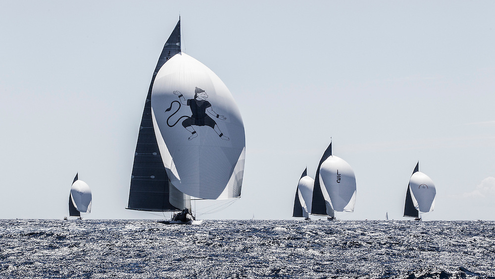 SPAIN, Palma. 19th June 2013. Superyacht Cup. J Class. Race One. The fleet approaches the finish. L-R Velsheda, Hanuman, Lionheart, Ranger, Rainbow.