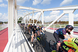 Peloton speed across a bridge at Boels Rental Ladies Tour Stage 5 a 141.8 km road race from Stamproy to Vaals, Netherlands on September 2, 2017. (Photo by Sean Robinson/Velofocus)