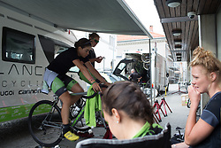 Cylance Pro Cycling riders warm up for the prologue of the Ladies Tour of Norway - a 3.4 km time trial, starting and finishing in Halden on August 17, 2017, in Ostfold, Norway. (Photo by Balint Hamvas/Velofocus.com)