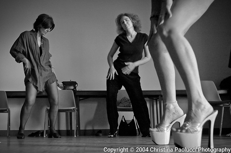 Barbara Fedors,left, of Stillwater and Barb Burckhardt of Minneapolis learn dance moves from instructor Sharon Black.  Several women took a course to explore the art of exotic dancing.  Black is is a paid dancer at local clubs.