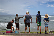 Brother Nolan and Junior Trackers check for fish so they can throw net and catch dinner on the east side of Molokai.