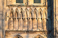 13th century Early English blind arcading on the south east transept of Beverley Minster with characteristic stiff leaf moulding and dogtooth pattern