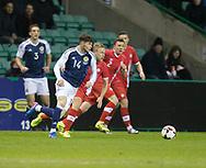 Scotland&rsquo;s Oliver Burke goes past Canada&rsquo;s Scott Arfield  - Scotland v Canada, friendly international at EasterRoad, Edinburgh.Photo: David Young<br /> <br />  - &copy; David Young - www.davidyoungphoto.co.uk - email: davidyoungphoto@gmail.com