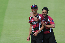 Alfonso Thomas of Somerset celebrates with Abdur Rehman of Somerset after catching out Kieran Noema-Barnett of Gloucestershire for 6 - Photo mandatory by-line: Dougie Allward/JMP - Mobile: 07966 386802 - 19/06/2015 - SPORT - Cricket - Bristol - County Ground - Gloucestershire v Somerset - Natwest T20 Blast