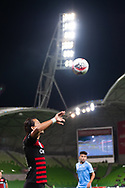 MELBOURNE, AUSTRALIA - SEPTEMBER 18: Daniel Georgievski (5) of the Wanderers takes a throw in during the FFA Cup Quarter Finals match between Melbourne City FC and Western Sydney Wanderers FC at AAMI Park on September 18, 2019 in Melbourne, Australia. (Photo by Speed Media/Icon Sportswire)