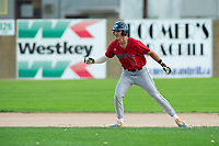 KELOWNA, BC - JULY 16: Dalton Harum #4 of the Wenatchee Applesox leads off second base against the the Kelowna Falcons at Elks Stadium on July 16, 2019 in Kelowna, Canada. (Photo by Marissa Baecker/Shoot the Breeze)