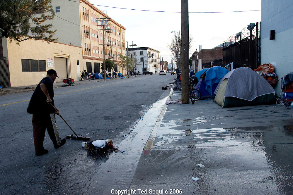 A small homeless encampment in Downtown LA's skid row.