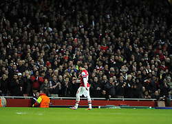 Arsenal's Santi Cazorla is sacrificed as Arsenal are reduced to 10 Men - Photo mandatory by-line: Joe Meredith/JMP - Tel: Mobile: 07966 386802 19/02/2014 - SPORT - FOOTBALL - London - Emirates Stadium - Arsenal v Bayern Munich - Champions League - Last 16 - First Leg