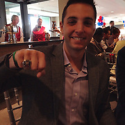 -Boston, MA, May 19,  2014-<br /> <br /> The front office World Series ring ceremony takes place at the State Street Pavillion on May 19th, 2014 at Fenway Park in Boston, Massachusetts. <br /> <br />  (Photo by Amanda Sabga/Boston Red Sox)