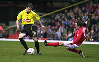 Fotball<br /> Foto: Alan Crowhurst, Digitalsport<br /> Norway Only<br /> <br /> WATFORD V CREWE Nationwide Division One<br /> 10/04/2004. David Vaughn about to tackle Chris Baird.