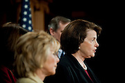 May 13,2010 - Washington, District of Columbia USA - California Senator Diane Feinstein announces legislation calling for a permanent ban on oil drilling off the West Coast. The bill, also sponsored by Senators Barbara Boxer (D-CA),  Maria Cantwell and Patty Murray of Washington and Ron Wyden and Jeff Merkley of Oregon would amend the Outer Continental Shelf Lands Act to permanently protect the $34 billion coastal economies of the three states. (Credit Image: © Pete Marovich/ZUMA Press)