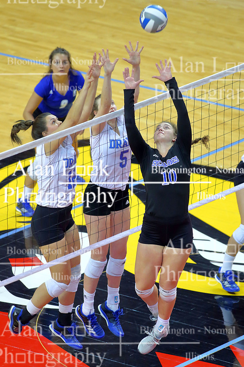 23 November 2017:  Grace Schofield, Natalie Fry, and Rachel Griffin all struggle for a point at the net with Kylee Macke watching during a college women's volleyball match between the Drake Bulldogs and the Indiana State Sycamores in the Missouri Valley Conference Tournament at Redbird Arena in Normal IL (Photo by Alan Look)