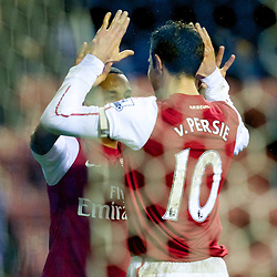 03.12.2011, DW Stadium, Wigan, ENG, Premier League, Wigan Athletic vs FC Arsenal, 14. Spieltag, im Bild Arsenal's captain Robin van Persie celebrates scoring the fourth goal against Wigan Athletic with team-mate Theo Walcott // during the football match of english Premier League, 14th round between Wigan Athletic an FC Arsenal at DW Stadium, Wigan, ENG on 2011/12/03. EXPA Pictures © 2011, PhotoCredit: EXPA/ Sportida/ David Rawcliff..***** ATTENTION - OUT OF ENG, GBR, UK *****
