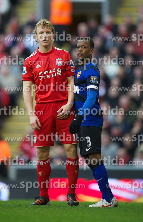 28.01.2012, Anfield, Liverpool, ENG, FA CUP, Liverpool FC vs Manchester United, im Bild Liverpool's Dirk Kuyt in action against Manchester United's Patrice Evra during the football match of the english FA CUP, between Liverpool FC and Manchester United, at the Anfield Stadium, Liverpool, England on 2012/01/28. EXPA Pictures © 2012, PhotoCredit: EXPA/ Propagandaphoto/ David Rawcliff..***** ATTENTION - OUT OF ENG, GBR, UK *****