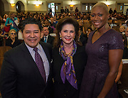 Houston ISD Superintendent Richard Carranza, Elyse Lanier and Trustee Jolanda Jones pose for a photograph before a renaming ceremony at Bob Lanier Middle School, September 21, 2016.