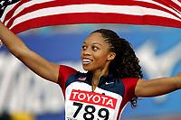 Friidrett, 12. august 2005, VM Helsinki, <br /> World ChampionshipS in Athletics<br /> Allyson Felix, USA, winner 200 metres<br /> Foto: Anders Hoven, Digitalsport
