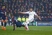 Karim Benzema (Real Madrid Club de Futbol) kicked the ball and miss to score, Marco Verratti (psg), Yuri Berchiche (PSG) during the UEFA Champions League, round of 16, 2nd leg football match between Paris Saint-Germain FC and Real Madrid CF on March 6, 2018 at Parc des Princes stadium in Paris, France - Photo Stephane Allaman / ProSportsImages / DPPI