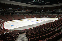 Jun 20, 2005; Anaheim, CA, USA; Empty seats are the norm inside the Arrowhead Pond of Anaheim for NHL Hockey season. The league is still not playing due to a lockout after a full season cancellation and attendance is down overall at the arena venue.