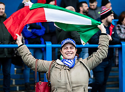 An Italy fan enjoying the pre match atmosphere<br /> <br /> Photographer Simon King/Replay Images<br /> <br /> Six Nations Round 1 - Wales Women v Italy Women - Saturday 2nd February 2020 - Cardiff Arms Park - Cardiff<br /> <br /> World Copyright © Replay Images . All rights reserved. info@replayimages.co.uk - http://replayimages.co.uk