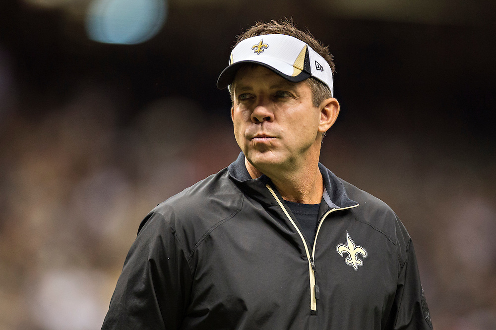 NEW ORLEANS, LA - NOVEMBER 17:  Head Coach Sean Payton of the New Orleans Saints on the field before a game against the San Francisco 49ers at Mercedes-Benz Superdome on November 17, 2013 in New Orleans, Louisiana.  The Saints defeated the 49ers 23-20.  (Photo by Wesley Hitt/Getty Images) *** Local Caption *** Sean Payton