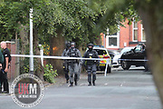 Manchester UK 19.06.2017 Images from  Scene <br /> <br /> Counter Terrorist Specialist Firearms Officer (CTSFO) seen at the scene of armed  siege<br /> <br /> GNP Statement &quot;Shortly after 7pm on Sunday 18 June 2017 police were called to reports of a man with a gun at an address on Heath Road in Shaw Heath, Stockport.<br />  <br /> Armed officers are now present as are specialist negotiators who are working to gain control of the situation.<br />  <br /> A number of homes in the immediate area have been evacuated.<br />  <br /> It is not believed there are any injuries.<br />  <br /> This is not terror related.