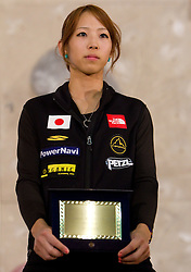 Overall combination second placed Akiyo Noguchi of Japan at Trophy ceremony during Final IFSC World Cup Competition in sport climbing Kranj 2010, on November 14, 2010 in Arena Zlato polje, Kranj, Slovenia. (Photo By Vid Ponikvar / Sportida.com)
