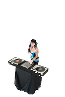 Portrait of young DJ with sound mixing equipment wearing hat over white background
