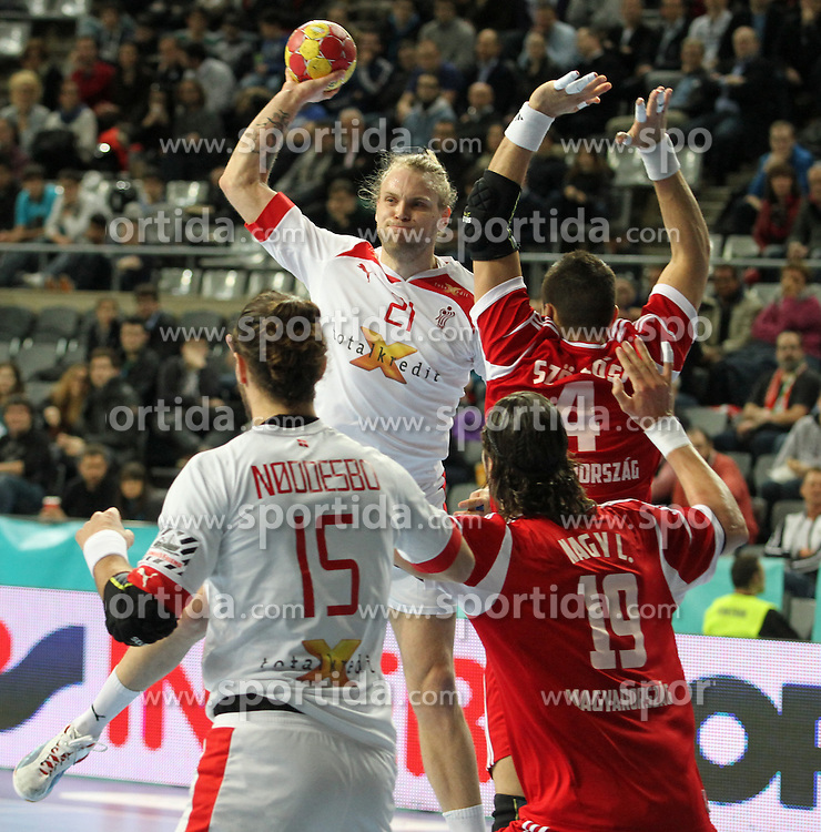 12.01.2013 Barcelona, Spain. IHF men's world championship, Quarter-Final. Picture show Henrik Mollgaard   in action during game between Denmark vs Hungary at Palau ST Jordi (Photo by Sportida Photo Agency)