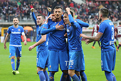 March 18, 2018 - Turin, Piedmont, Italy - Cyril Thereau (ACF Fiorentina) celebrates with team mates after scoring the penalty kick of the victory during the Serie A football match between Torino FC and ACF Fiorentina at Olympic Grande Torino Stadium on 18 March, 2018 in Turin, Italy. Final results: 1-2  (Credit Image: © Massimiliano Ferraro/NurPhoto via ZUMA Press)