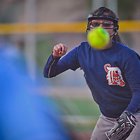 Tiger's Rae Anna Chee pitches during the Tiger-Pirate softball game on Wednesday at Ford Canyon Park in Gallup.