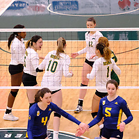 Cougar women in action during the Women's Volleyball Home Game on November 17 at University of Regina. Credit Matt Johnson/©Arthur Images 2017