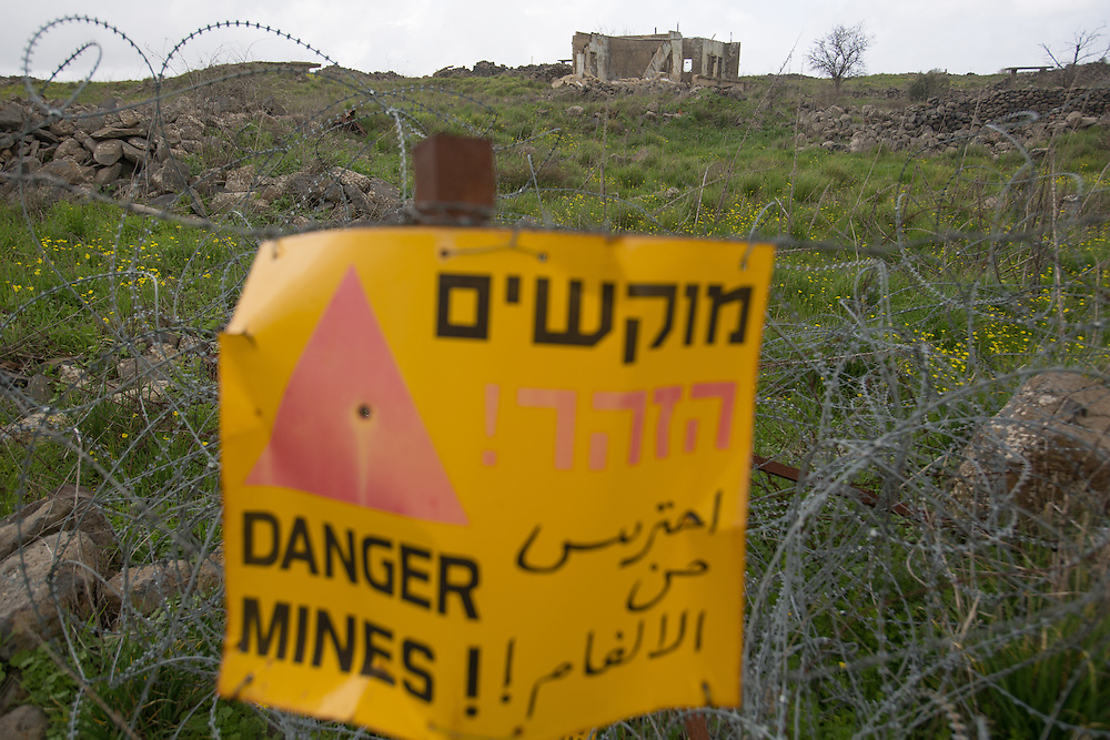 View of a minefield at the Golan Heights, Northern Israel.  February 23, 2013.  Photo by Oren Nahshon.