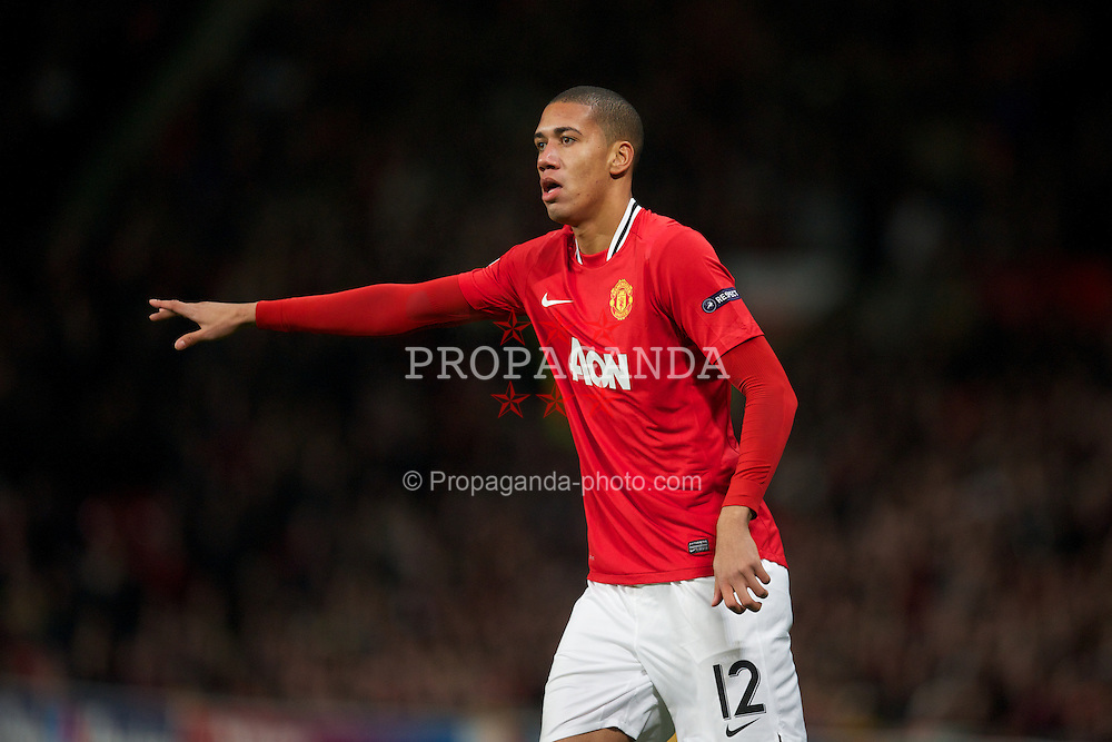 MANCHESTER, ENGLAND - Tuesday, November 22, 2011: Manchester United's Chris Smalling in action against SL Benfica during the UEFA Champions League Group C match at Old Trafford. (Pic by David Rawcliffe/Propaganda)