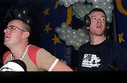 DJ Tall Paul and DJ Judge Jules in DJ booth, Club Class, Ikon, Maidstone, Kent, 2002