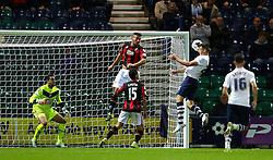 Jordan Hugill of Preston North End scores the equalising goal to make it 1-1- Mandatory byline: Matt McNulty/JMP - 07966386802 - 22/09/2015 - FOOTBALL - Deepdale Stadium -Preston,England - Preston North End v Bournemouth - Capital One Cup - Third Round