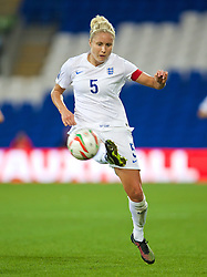 CARDIFF, WALES - Tuesday, August 21, 2014: England's captain Steph Houghton in action against Wales during the FIFA Women's World Cup Canada 2015 Qualifying Group 6 match at the Cardiff City Stadium. (Pic by David Rawcliffe/Propaganda)