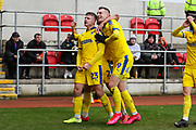 AFC Wimbledon midfielder Max Sanders (23) celebrates after scoring his team's first goal during the EFL Sky Bet League 1 match between Rotherham United and AFC Wimbledon at the AESSEAL New York Stadium, Rotherham, England on 15 February 2020.